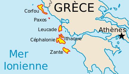 carte îles ioniennes