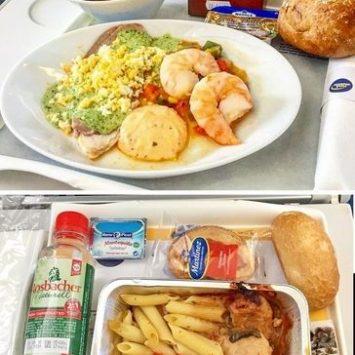 Un voyageur a photographié les repas servis dans 5 compagnies aériennes selon la classe (éco VS première) !